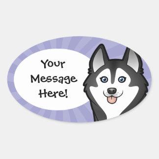 Cartoon Siberian Husky / Alaskan Malamute Oval Sticker