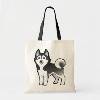 Cartoon Siberian Husky / Alaskan Malamute Tote Bag