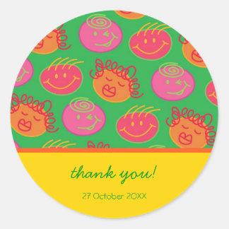 Cartoon Silly Bubblegum Heads Gift / Favor Sticker