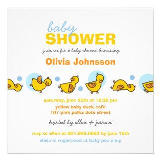 Cartoon Silly Duckies Baby Boy Shower Invitation Custom Invitations