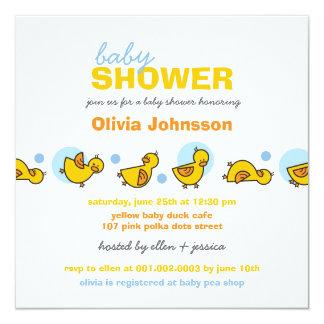 Cartoon Silly Duckies Baby Boy Shower Invitation
