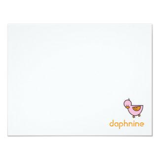 Cartoon SIlly Duckies Baby Girl Thank You Card
