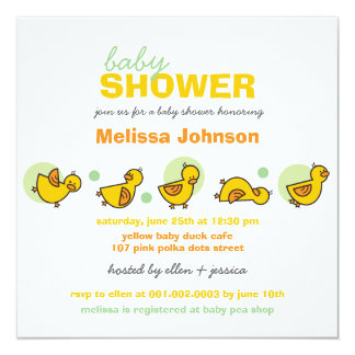 Cartoon Silly Duckies Baby Shower Neutral Invite