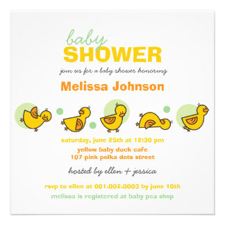Cartoon Silly Duckies Baby Shower Neutral Invite Personalized Invitations