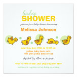 """Cartoon Silly Duckies Baby Shower Neutral Invite 5.25"""" Square Invitation Card"""