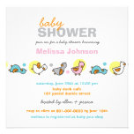 Cartoon Silly Duckies Neutral Baby Shower Invite Personalized Invites