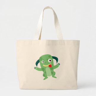 Cartoon Silly Green Monster Canvas Bags