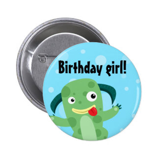 Cartoon Silly Green Monster Birthday girl Button