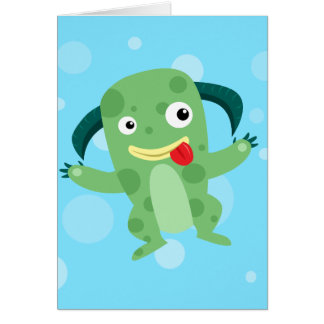 Cartoon Silly Green Monster Stationery Note Card