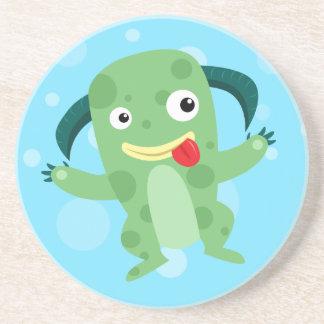 Cartoon Silly Green Monster Coaster