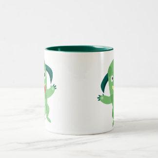 Cartoon Silly Green Monster Two-Tone Coffee Mug