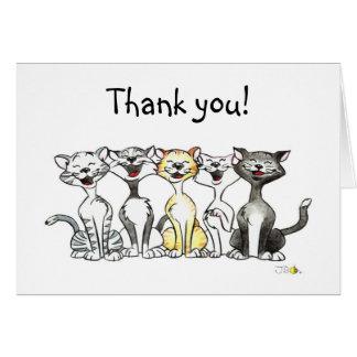 Cartoon singing cats thank you card