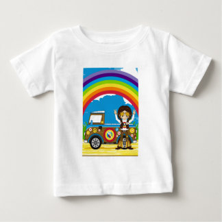 Cartoon Sixties Peace Hippie and Van Baby T-Shirt