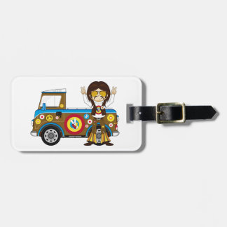 Cartoon Sixties Peace Hippie and Van Luggage Tag