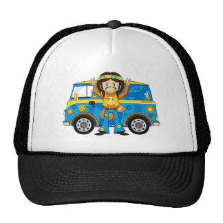 Cartoon Sixties Peace Hippie and Van Trucker Hat