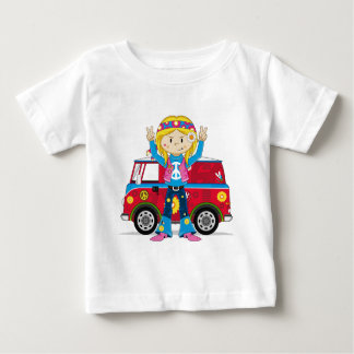 Cartoon Sixties Peace Hippie Baby T-Shirt