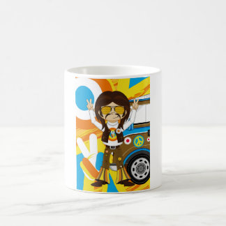 Cartoon Sixties Peace Hippie Coffee Mug