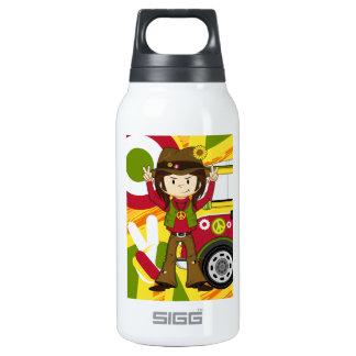 Cartoon Sixties Peace Hippie Insulated Water Bottle