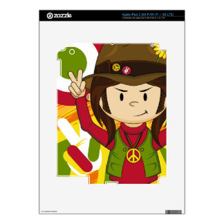 Cartoon Sixties Peace Hippie iPad 3 Decal