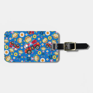 Cartoon Sixties Peace Hippie Pattern Luggage Tag