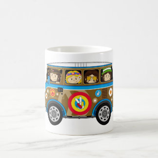 Cartoon Sixties Peace Hippie Van Coffee Mug