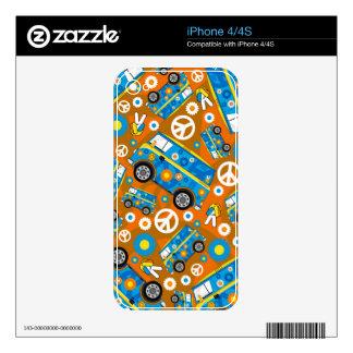 Cartoon Sixties Peace Hippie Van Skin For iPhone 4