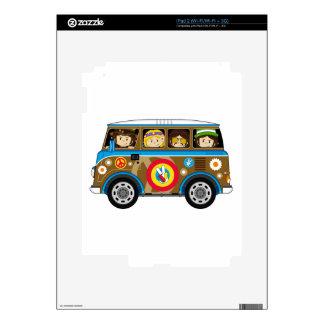 Cartoon Sixties Peace Hippie Van Skins For iPad 2