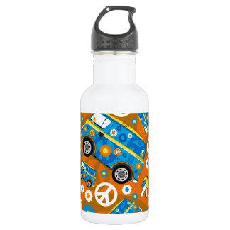 Cartoon Sixties Peace Hippie Van Stainless Steel Water Bottle