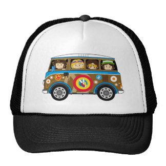 Cartoon Sixties Peace Hippie Van Trucker Hat