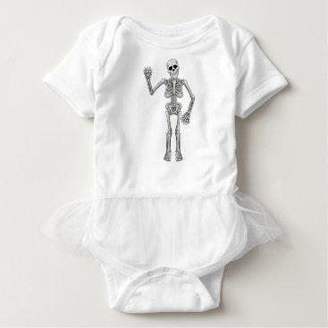 Halloween Themed Cartoon Skeleton Baby Bodysuit