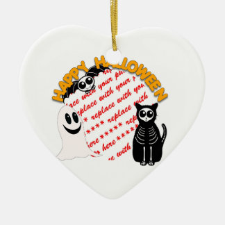Cartoon Skeleton Cat, Bat & Ghost Photo Frame Ceramic Ornament