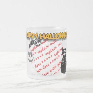 Cartoon Skeleton Cat, Bat & Ghost Photo Frame 10 Oz Frosted Glass Coffee Mug