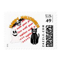 Cartoon Skeleton Cat, Bat & Ghost Photo Frame Postage Stamp