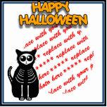 Cartoon Skeleton Cat, Bat & Ghost Photo Frame Statuette