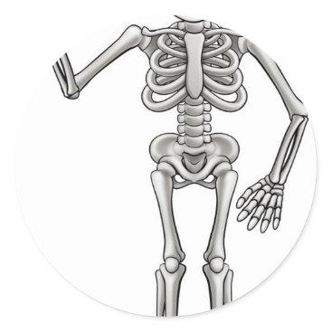 Halloween Themed Cartoon Skeleton Classic Round Sticker