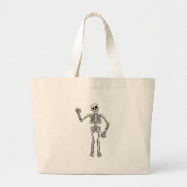 Halloween Themed Cartoon Skeleton Large Tote Bag