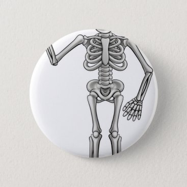 Halloween Themed Cartoon Skeleton Pinback Button