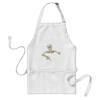 Cartoon Skeleton Pointing at Sign Adult Apron