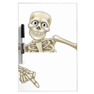 Cartoon Skeleton Pointing Down Dry-Erase Board