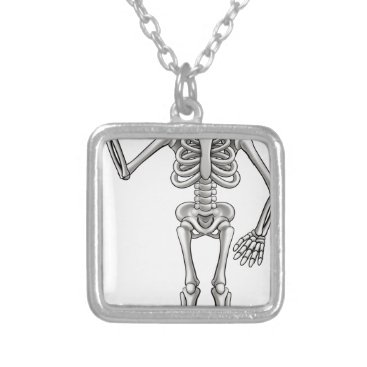 Halloween Themed Cartoon Skeleton Silver Plated Necklace