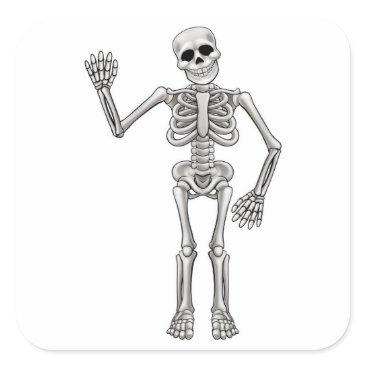 Halloween Themed Cartoon Skeleton Square Sticker
