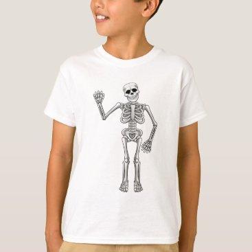 Halloween Themed Cartoon Skeleton T-Shirt