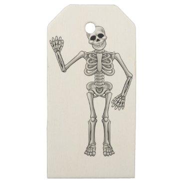 Cartoon Skeleton Wooden Gift Tags