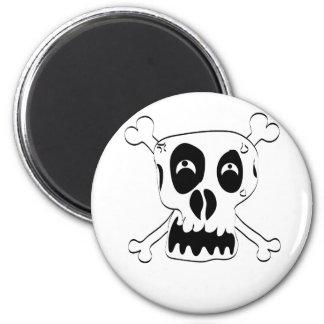 Cartoon Skull and Cross Bones by Chillee Wilson 2 Inch Round Magnet