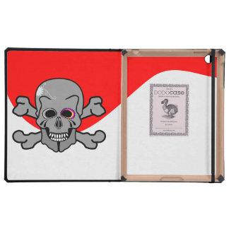 Cartoon Skull and Cross Bones iPad Folio Case