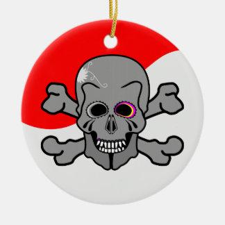 Cartoon Skull and Cross Bones Ceramic Ornament