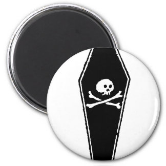 Cartoon Skull and Cross Bones in Coffin by Chillee 2 Inch Round Magnet