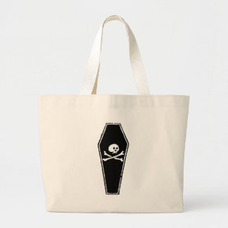 Cartoon Skull and Cross Bones in Coffin by Chillee Tote Bags