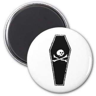 Cartoon Skull and Cross Bones in Coffin by Chillee Magnet