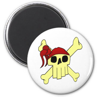 CARTOON SKULL AND CROSSBONES MAGNET